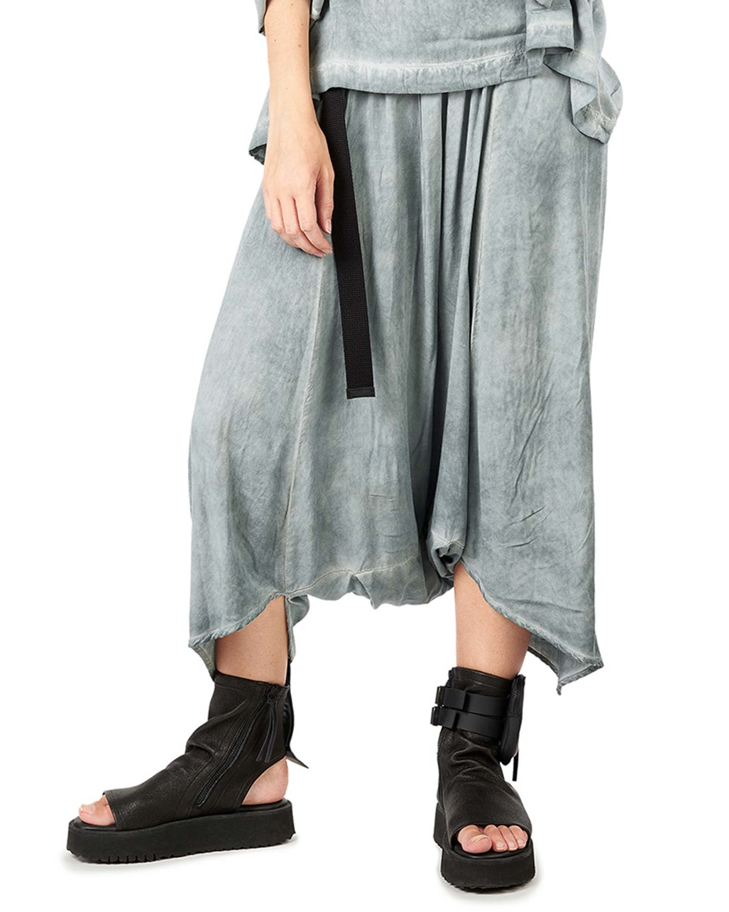 DRAPED VISCOSE HAREM PANTS - GREY
