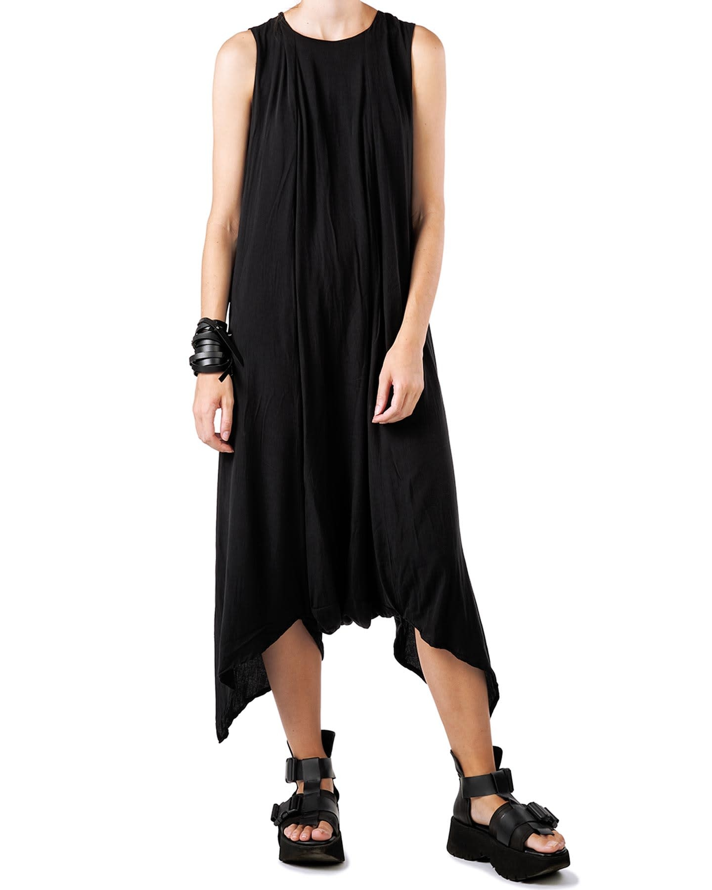 DRAPED VISCOSE JUMPSUIT W/ BUCKLE