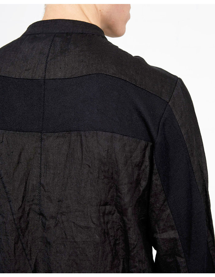 THOM KROM RIB PANEL LINEN MANDARIN SHIRT - BLACK