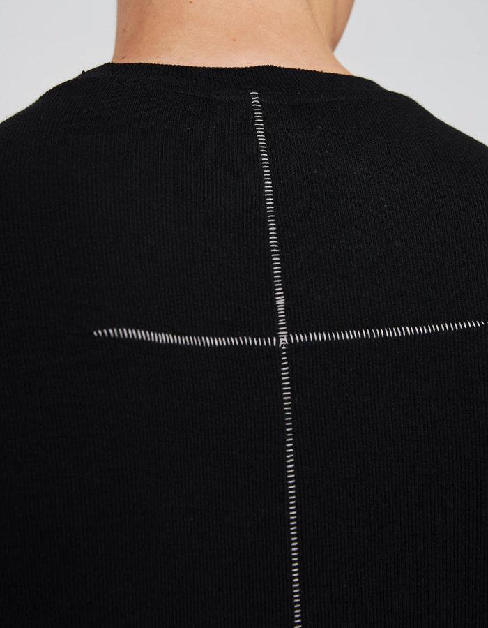 THOM KROM MICRO MODAL RIBBED T-SHIRT - BLACK