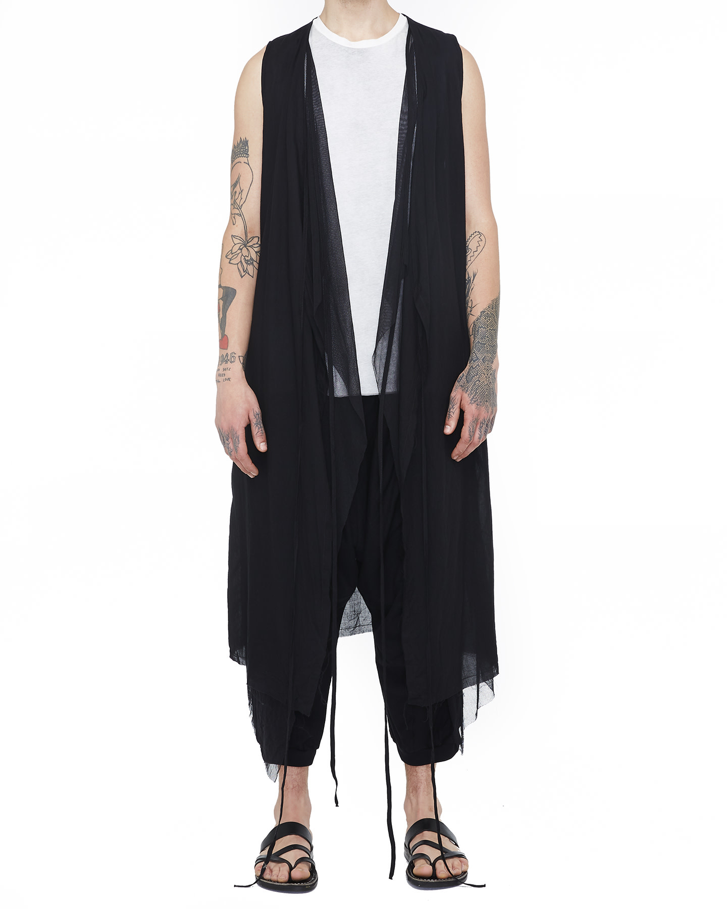 LONG COTTON GAUZE VEST W/ MESH - BLACK