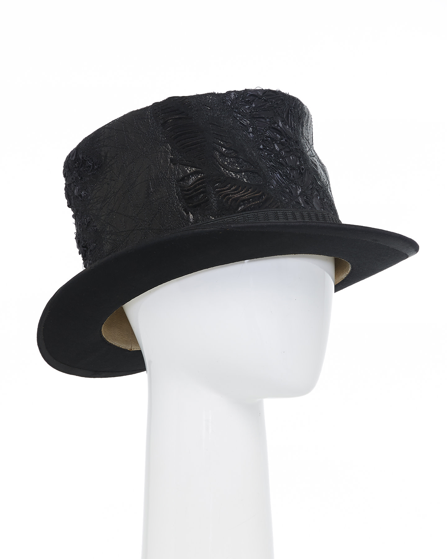 UPCYCLED RE-EMBROIDERED LEATHER TOP HAT V.2