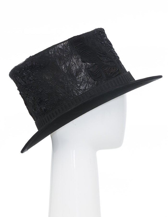 SANDRINE PHILIPPE Upcycled Re-Embroidered Leather Top Hat V.2