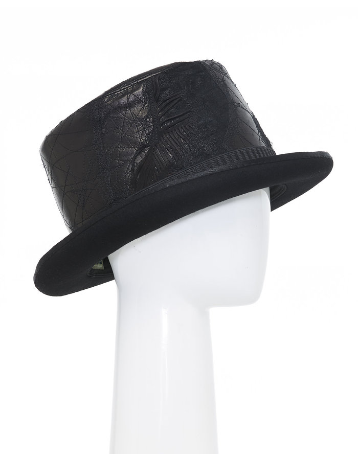 SANDRINE PHILIPPE Upcycled Re-Embroidered Leather Top Hat V.1