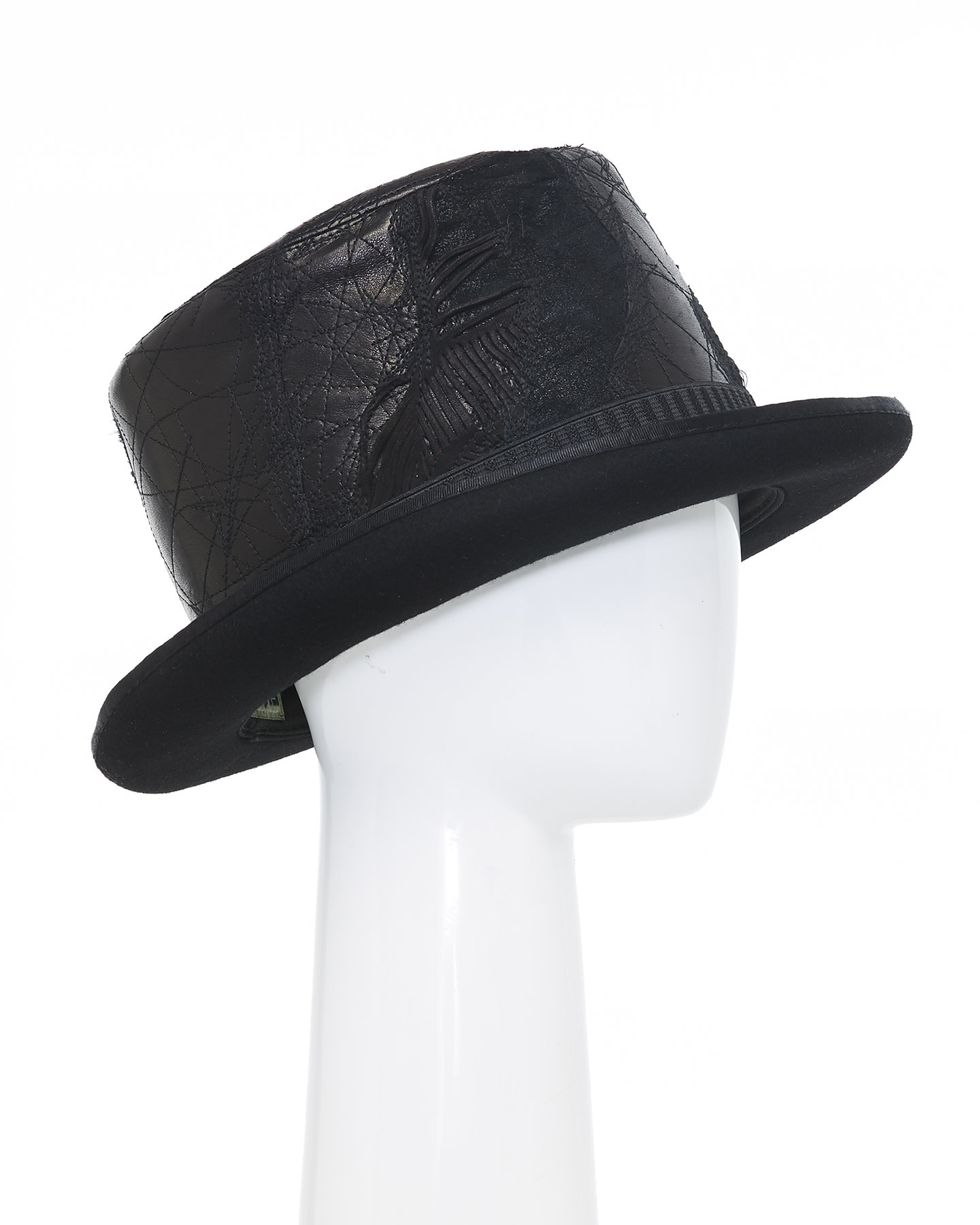 UPCYCLED RE-EMBROIDERED LEATHER TOP HAT V.1