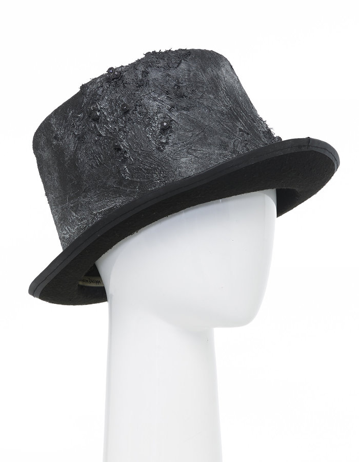 """SANDRINE PHILIPPE Upcycled """"Pearl"""" Silicone Coated Top Hat"""