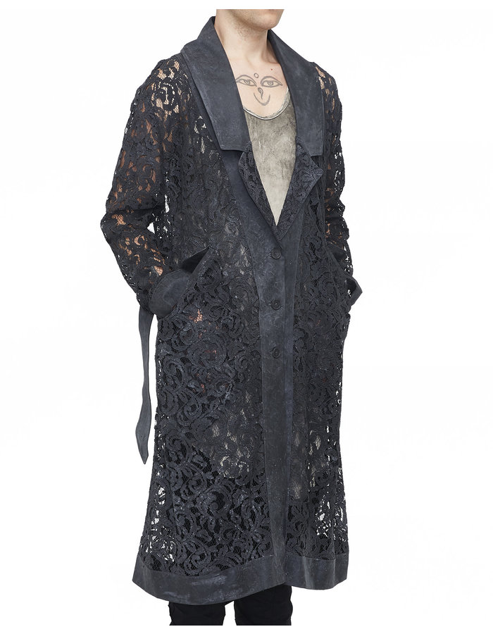 SANDRINE PHILIPPE Silicone Coated Lace Trench Coat