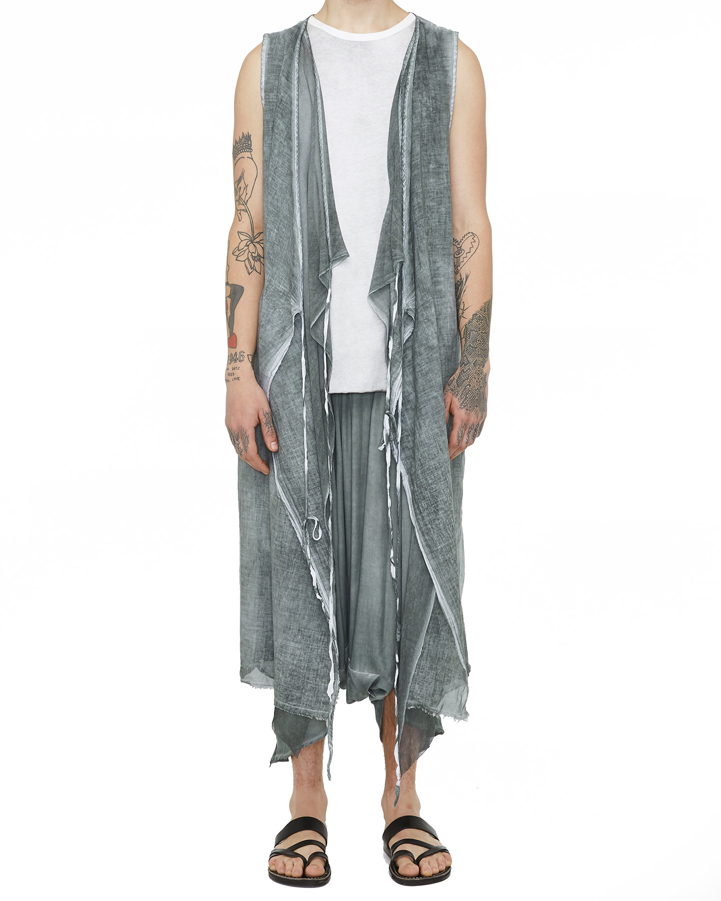 LONG COTTON GAUZE VEST W/ MESH - GREY