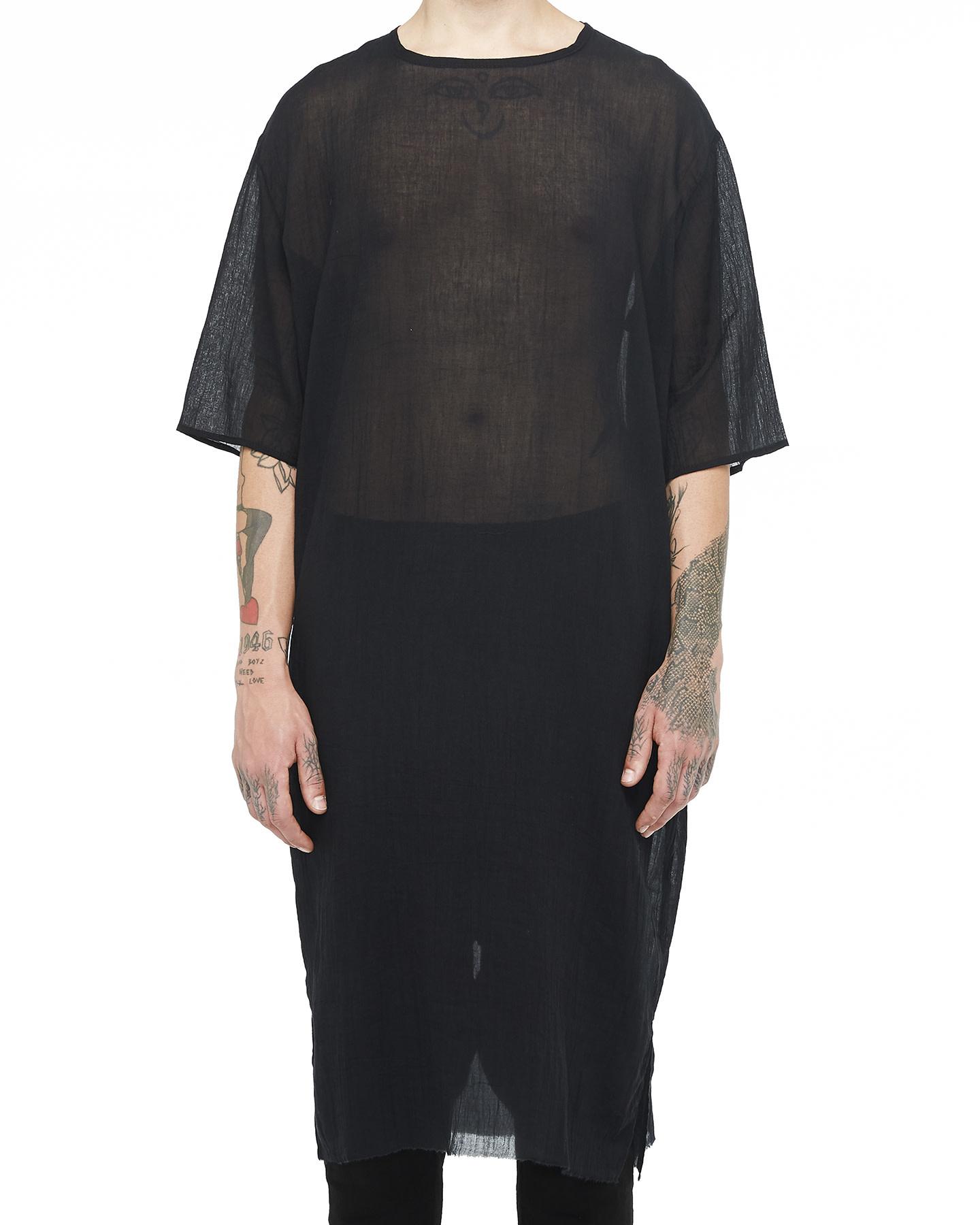 WASHED COTTON GAUZE KAFTAN T-SHIRT - BLACK