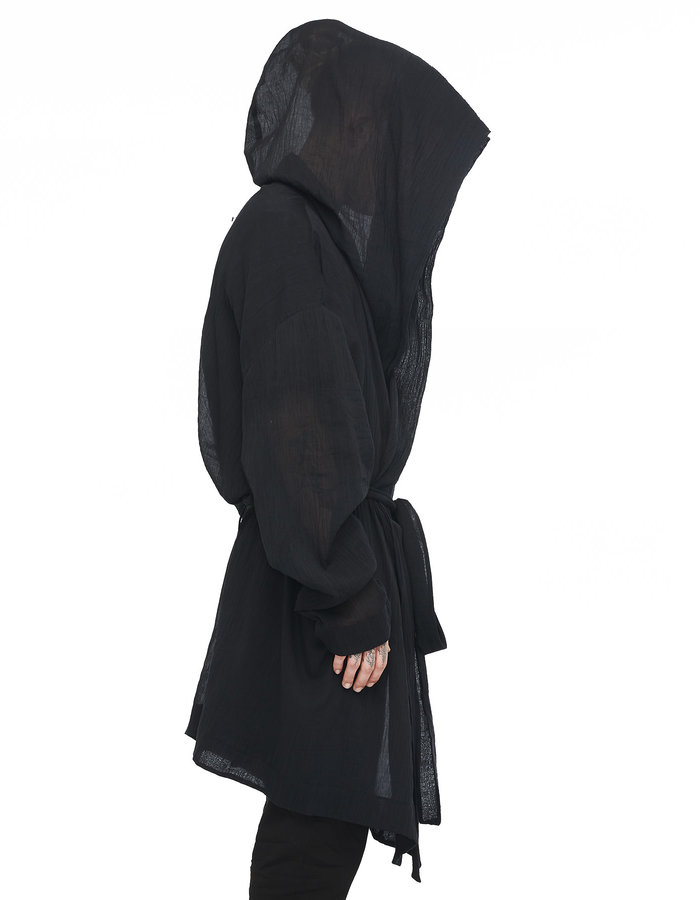 DAVIDS ROAD WASHED COTTON GAUZE HOODED ROBE