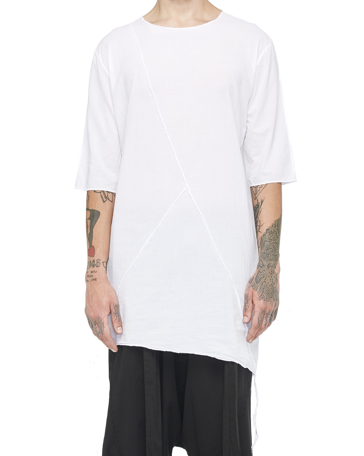 LONG SHIRT W/ BUTTONED SIDE - WHITE
