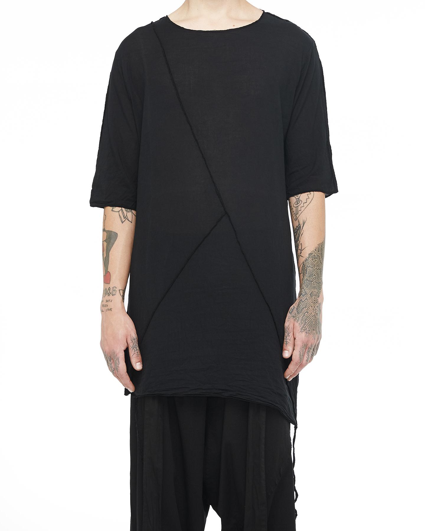 LONG SHIRT W/ BUTTONED SIDE - BLACK