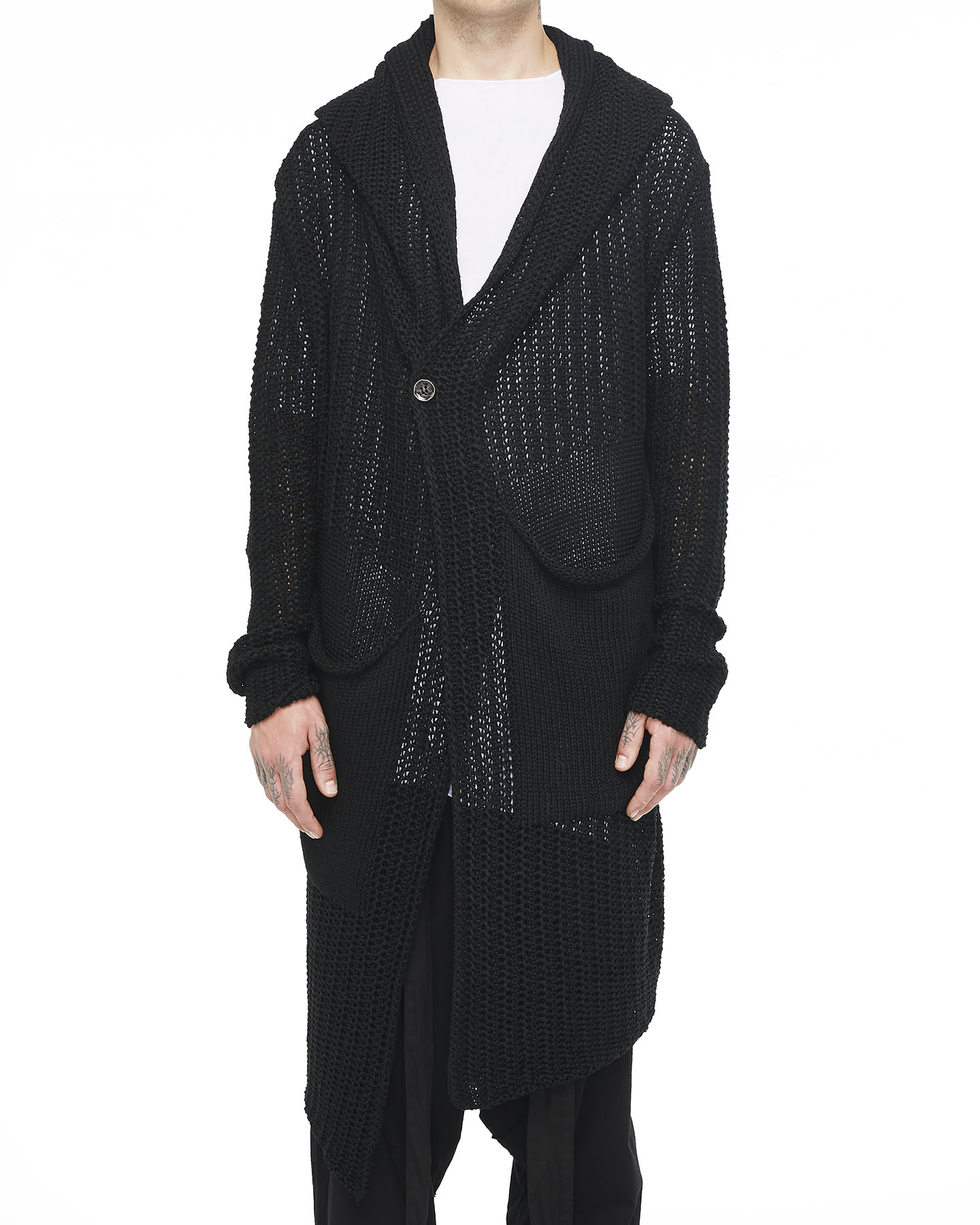 ONE BUTTON KNITTED LONG CARDIGAN