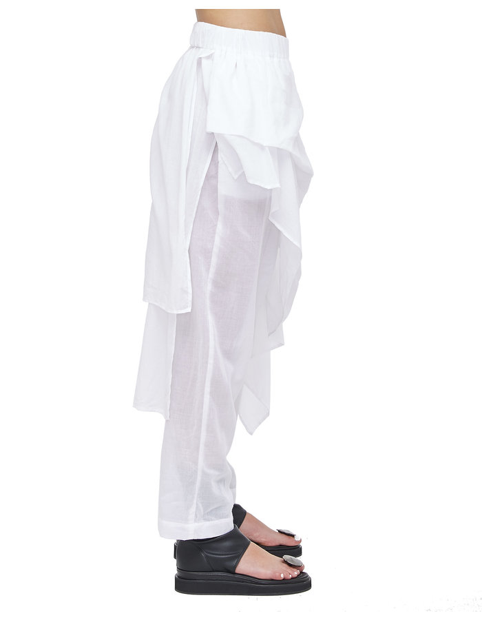 STUDIO B3 SKIRTED PANEL DROP CROTCH PANT - WHITE