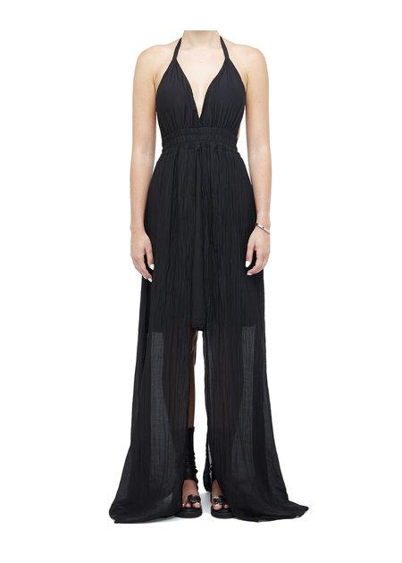 LA HAINE INSIDE US COTTON & SILK GAUZE LAYERED DRESS - BLACK