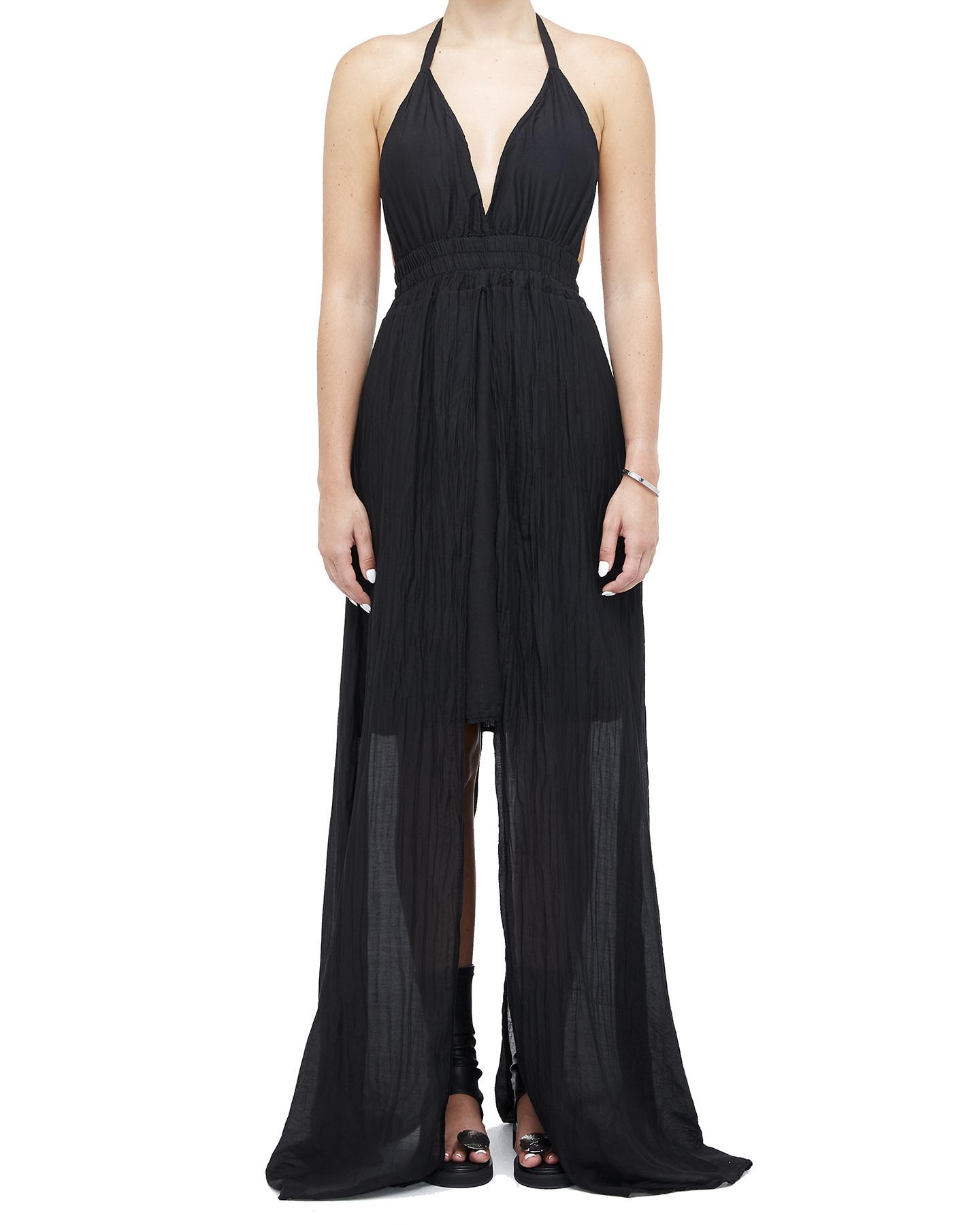 COTTON & SILK GAUZE LAYERED DRESS - BLACK