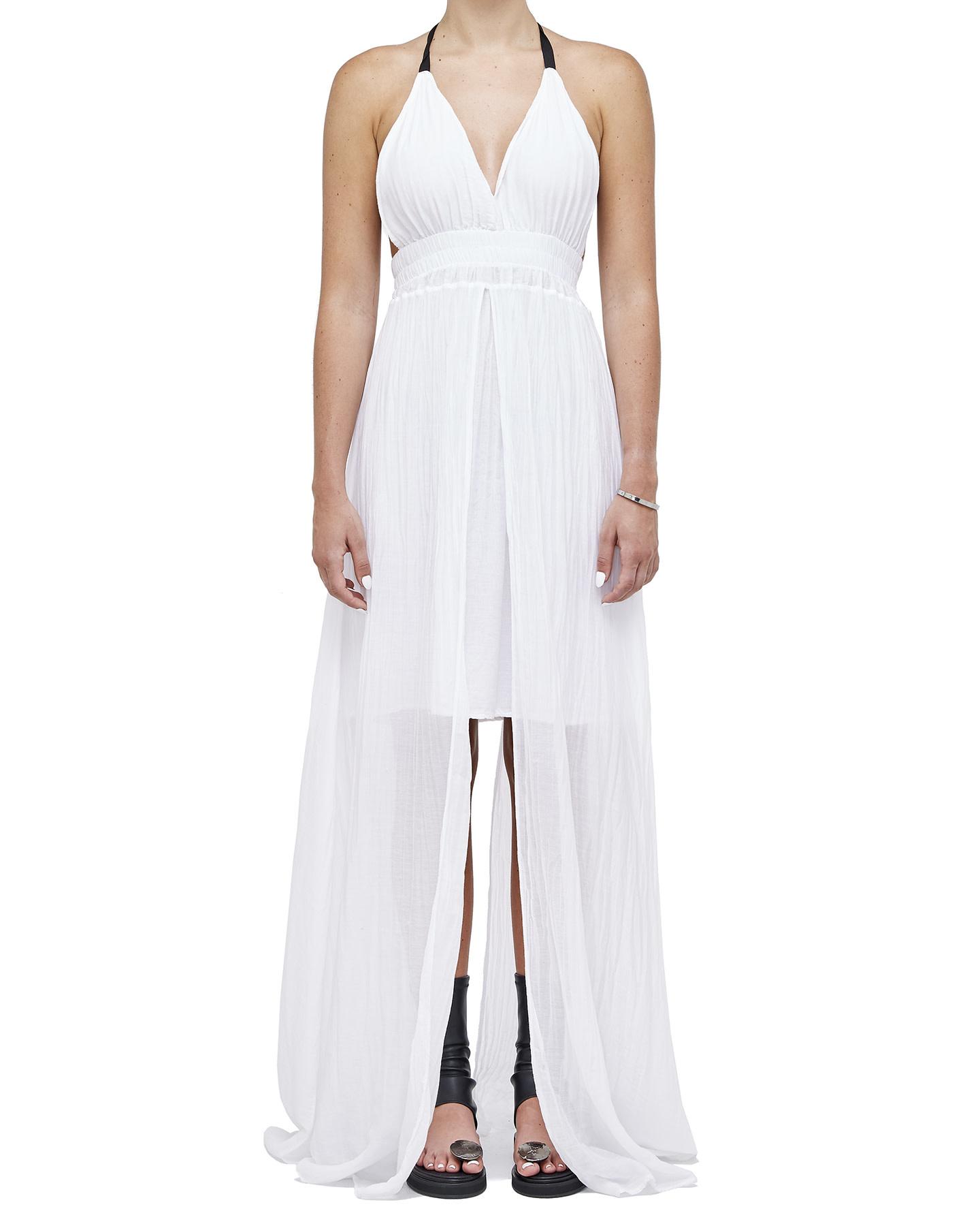 COTTON & SILK GAUZE LAYERED DRESS - WHITE