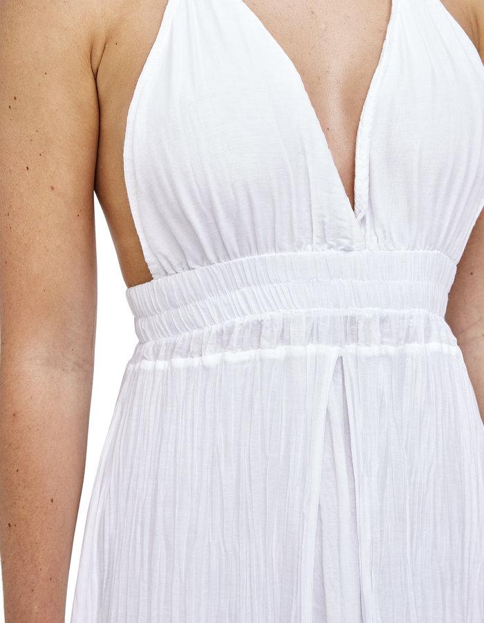 LA HAINE INSIDE US COTTON & SILK GAUZE LAYERED DRESS - WHITE