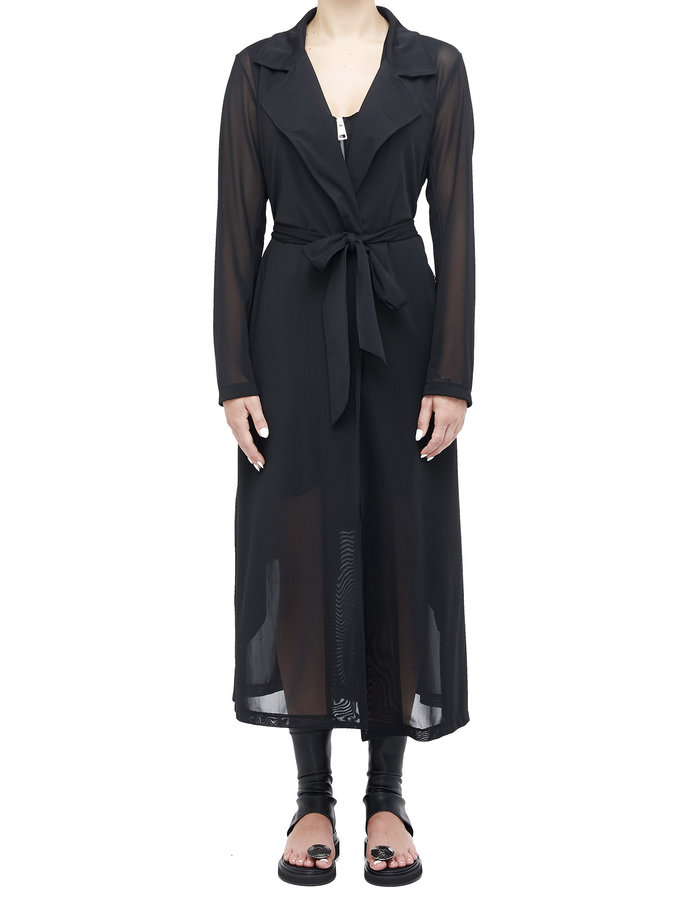 LA HAINE INSIDE US STRETCH MESH BELTED TRENCH