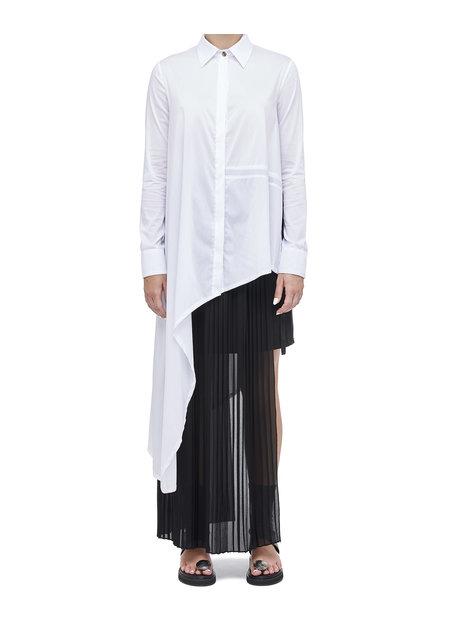 LA HAINE INSIDE US ASYMMETRIC SHIRT DRESS W/ TIE DETAIL - WHITE