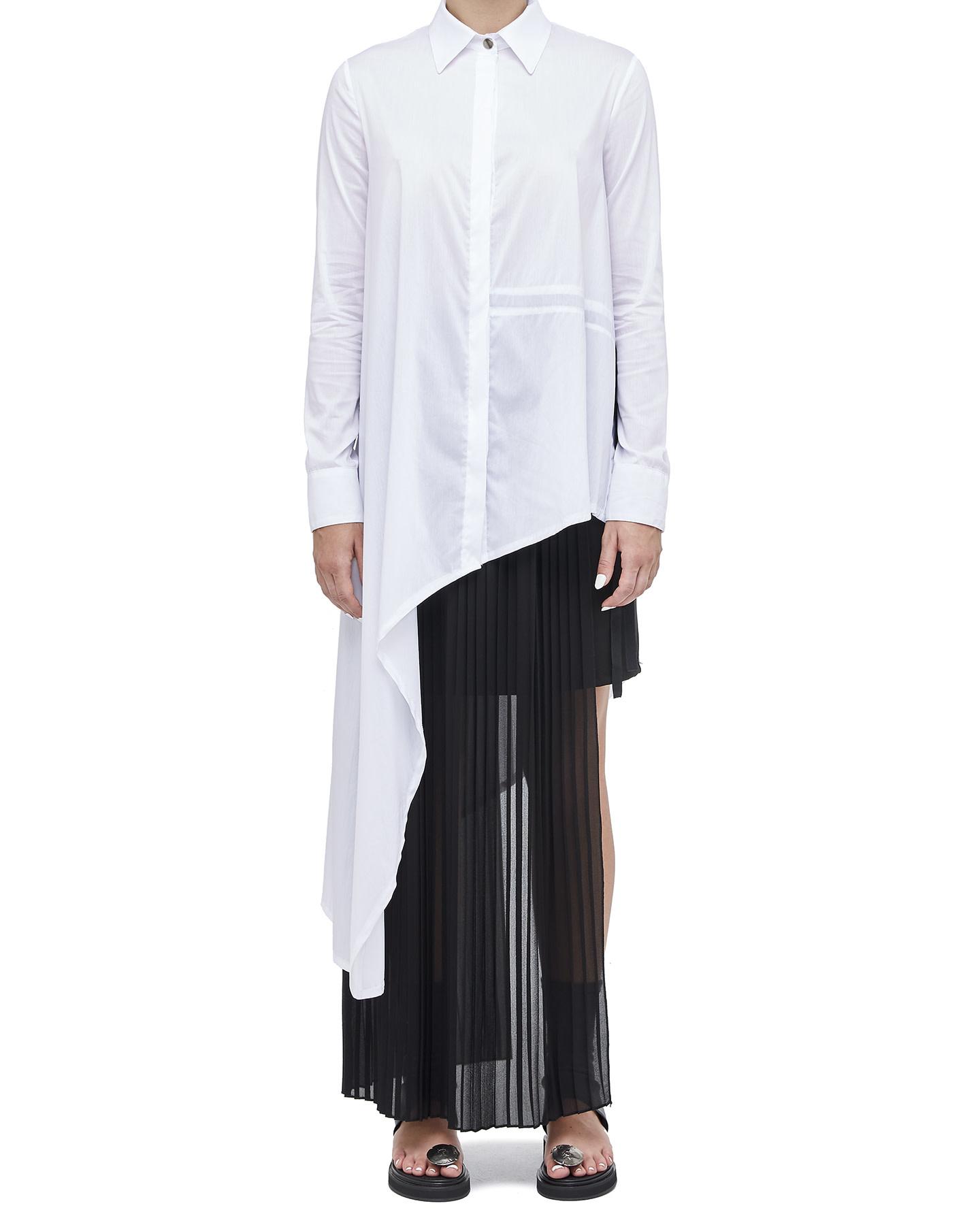 ASYMMETRIC SHIRT DRESS W/ TIE DETAIL - WHITE