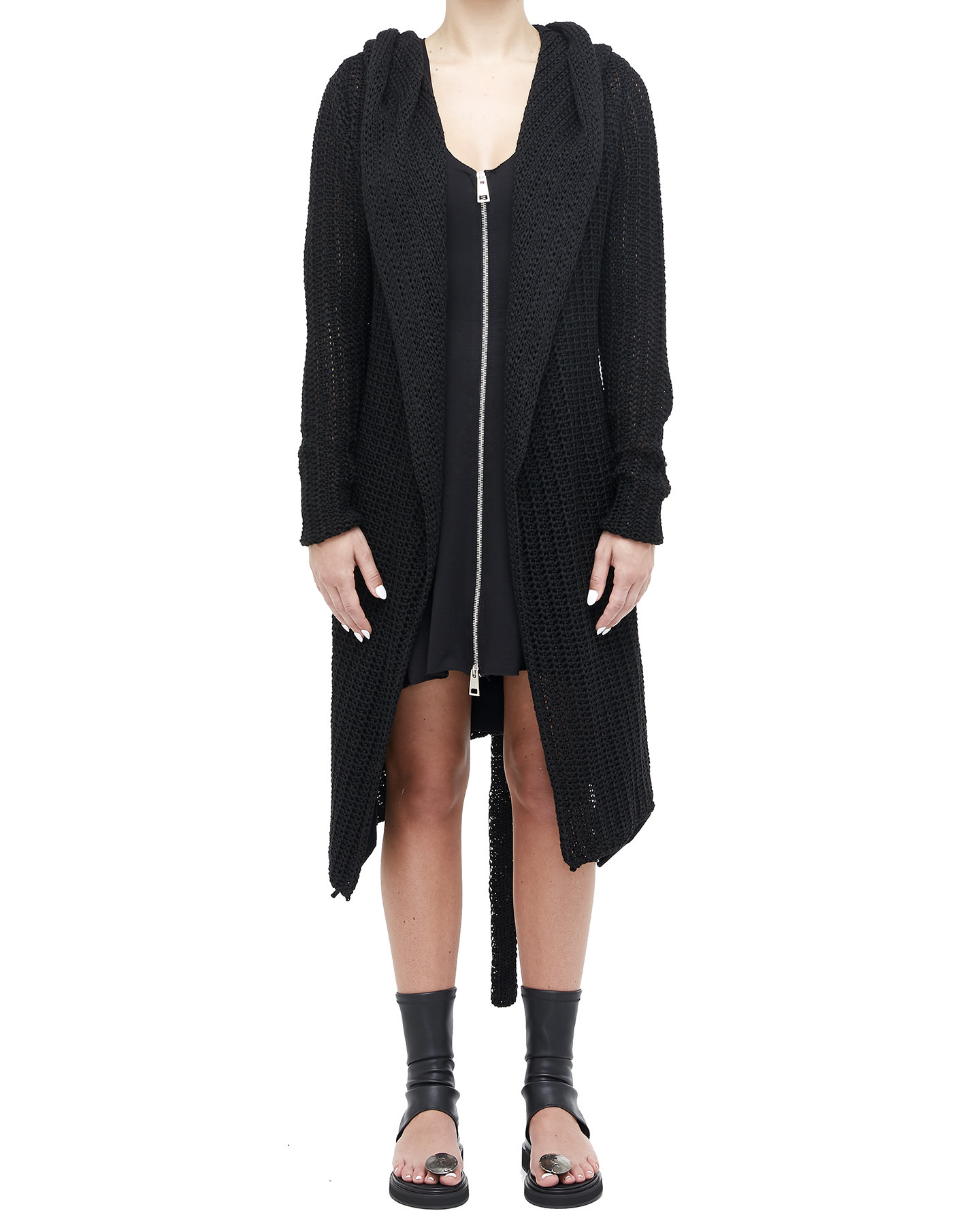 HOODED KNIT CARDIGAN WITH BELT