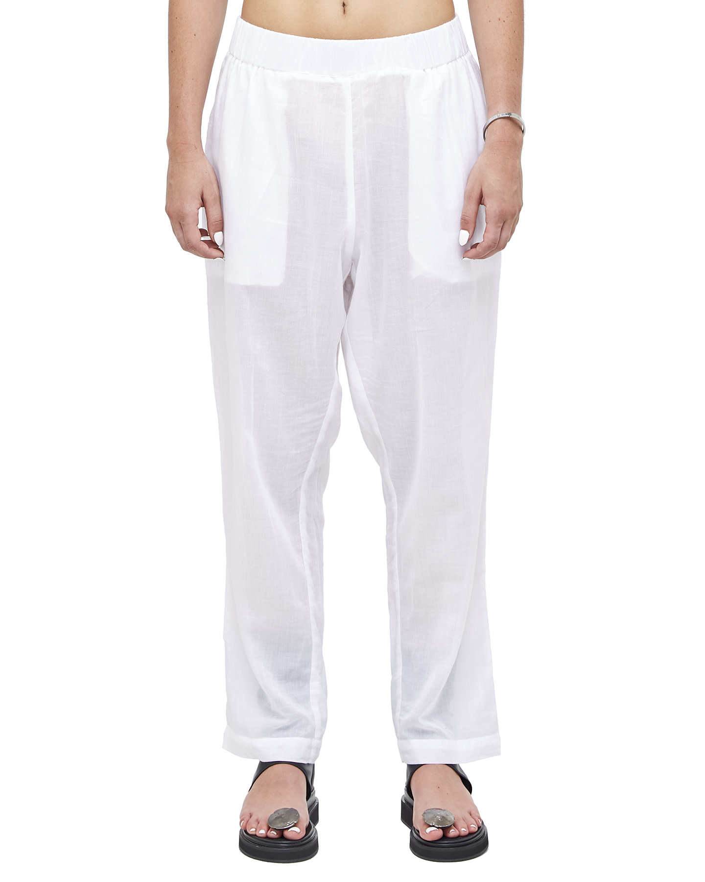 LUCER LOW CROTCH COTTON GAUZE TROUSERS - WHITE