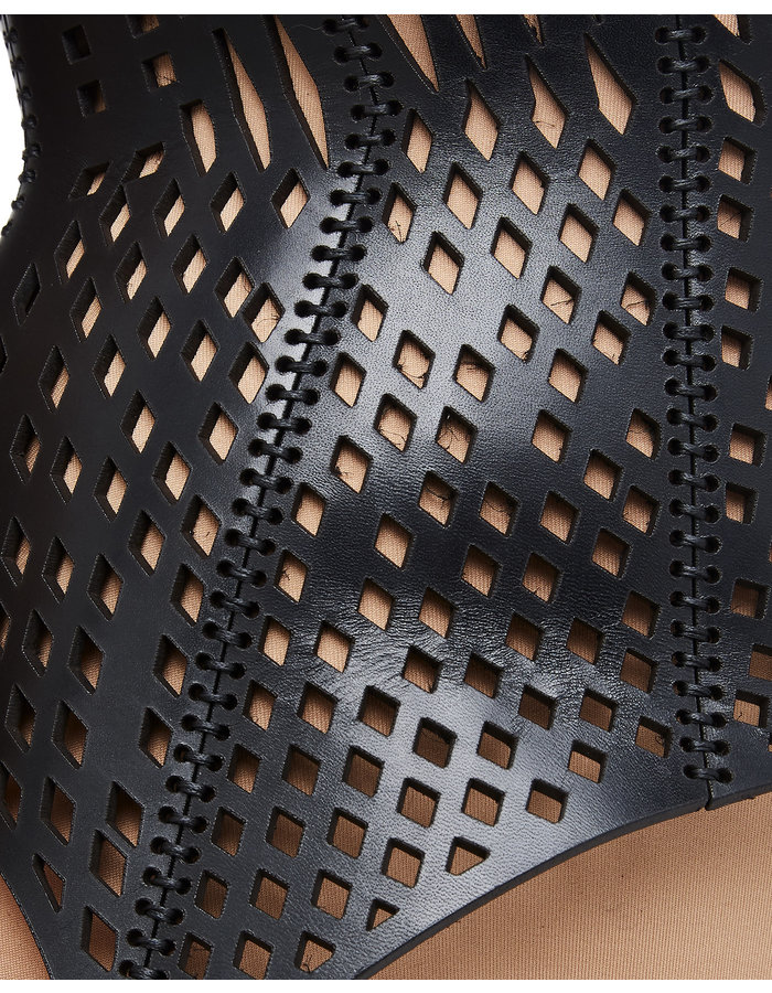 0770 PERFORATED LOW CUT LEATHER BUSTIER