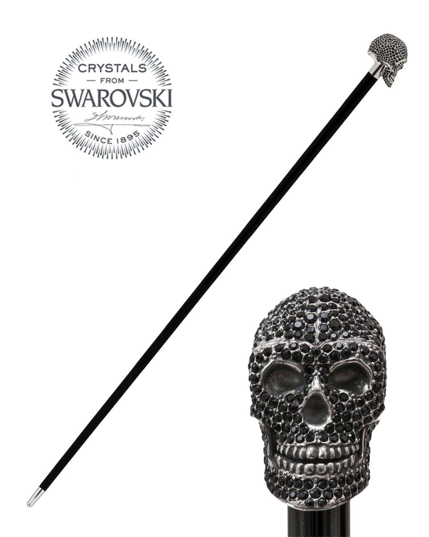 BLACK SWAROVSKI SKULL WALKING STICK