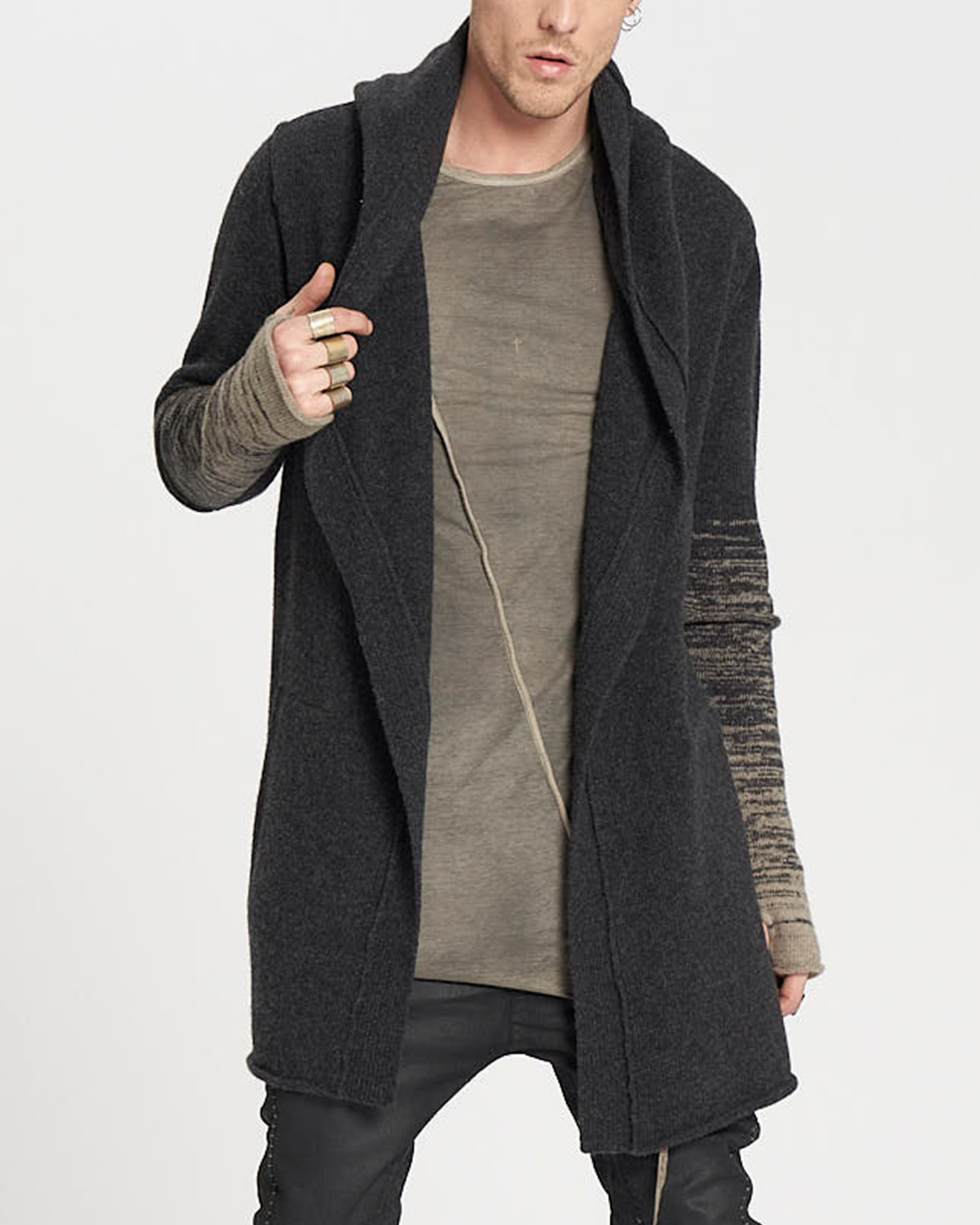 KNITTED VENT PARKA - ANTHRACITE