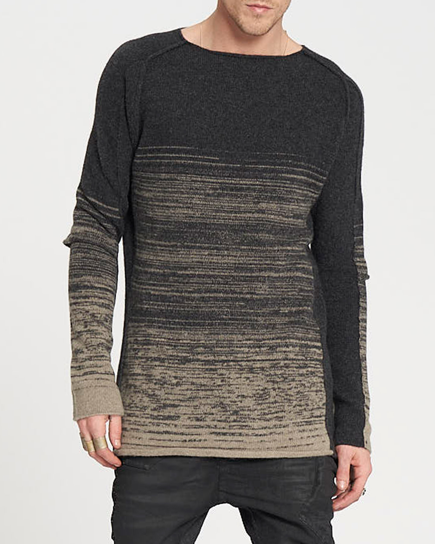 KNITTED CURVE SLEEVE CREWNECK - ANTHRACITE