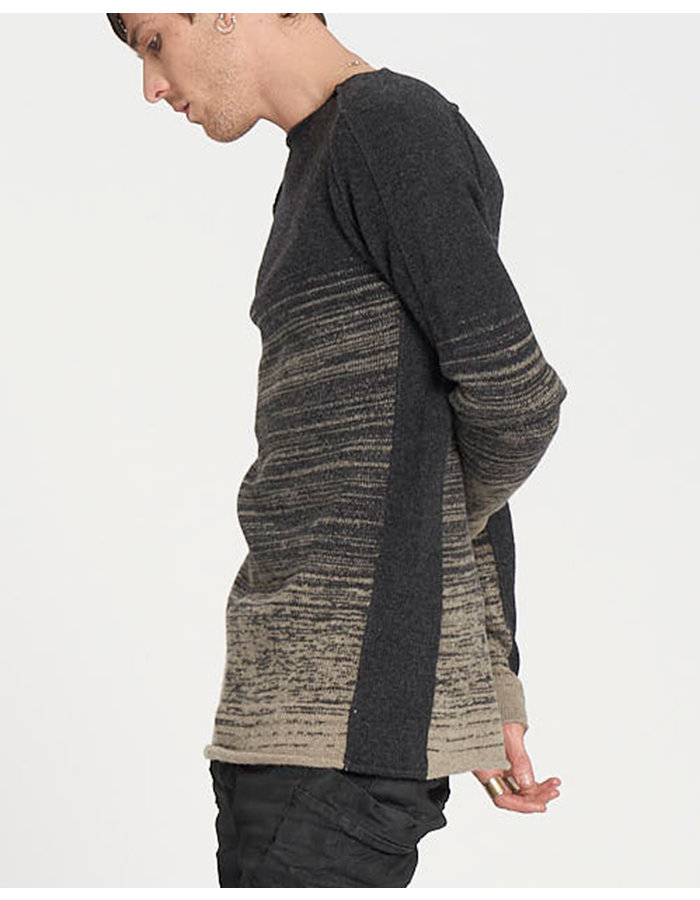 MASNADA KNITTED CURVE SLEEVE CREWNECK - ANTHRACITE