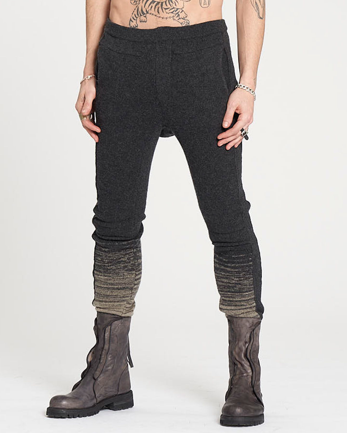 KNITTED BAND PANTS - ANTHRACITE