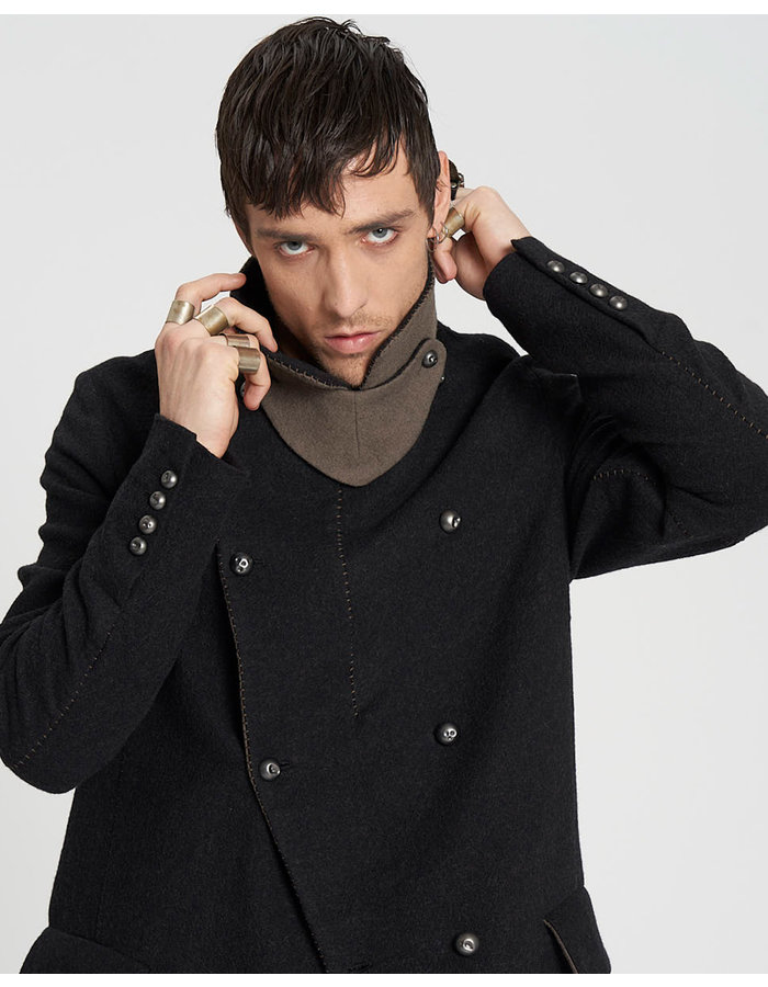 MASNADA DOUBLE SPACER WOOL COAT - ANTHRACITE