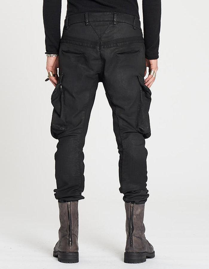 MASNADA STRETCH COTTON PARALLEL POCKET PANTS - BLACK