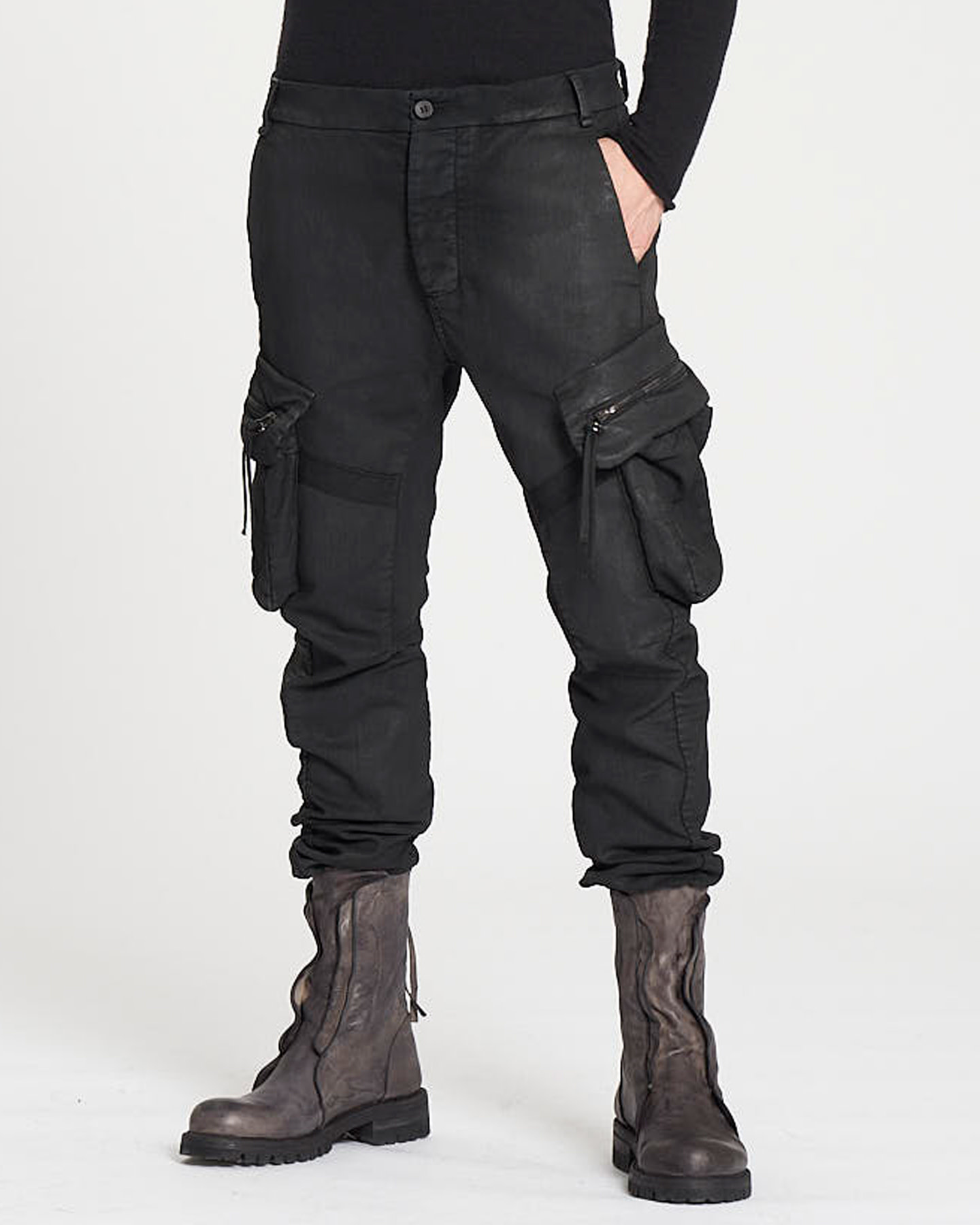 STRETCH COTTON PARALLEL POCKET PANTS - BLACK