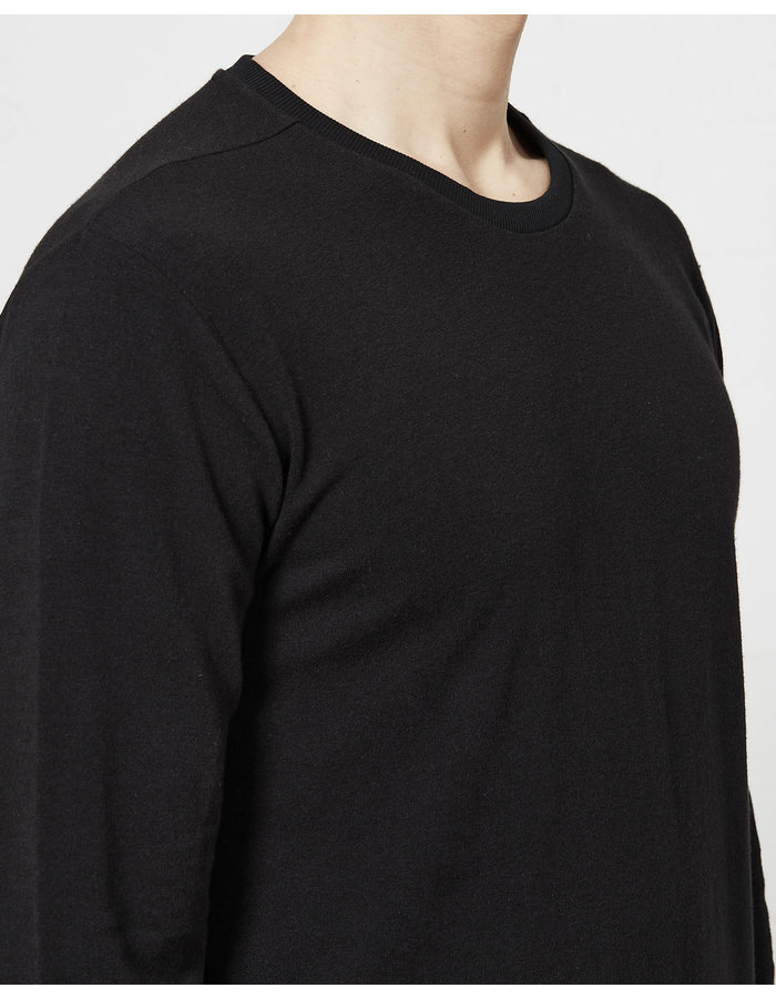 THOM KROM STRETCH COTTON MODAL FITTED LONG SLEEVE - BLACK