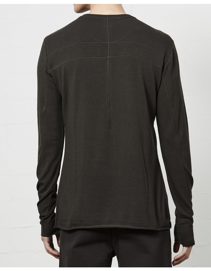 THOM KROM STRETCH COTTON MODAL FITTED LONG SLEEVE - BROWN