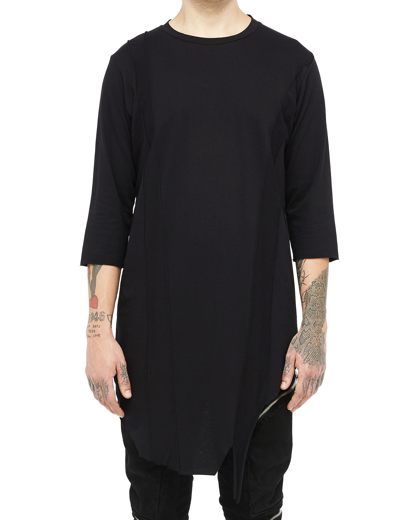 LONG BANDED T-SHIRT - BLACK