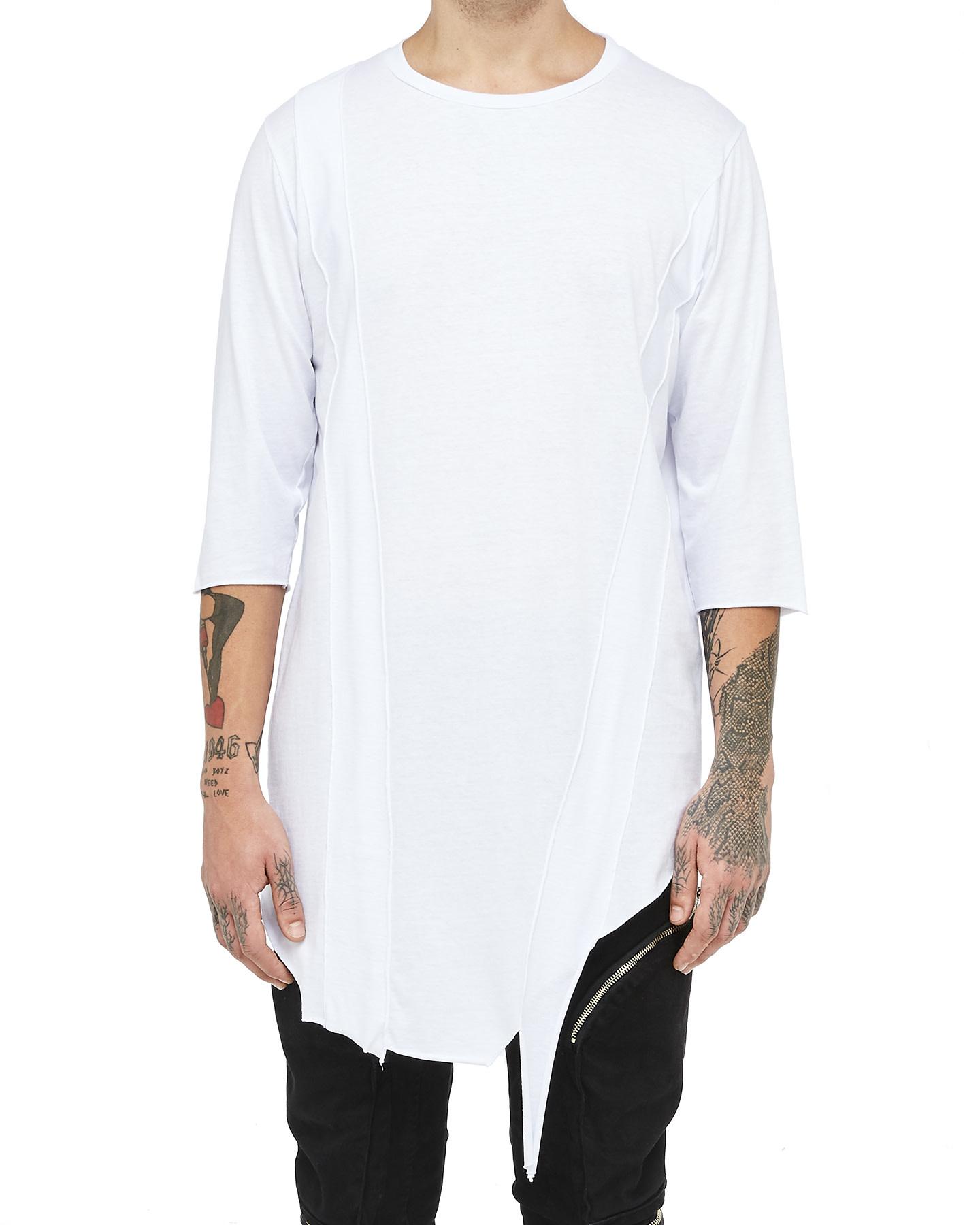 LONG BANDED T-SHIRT - WHITE