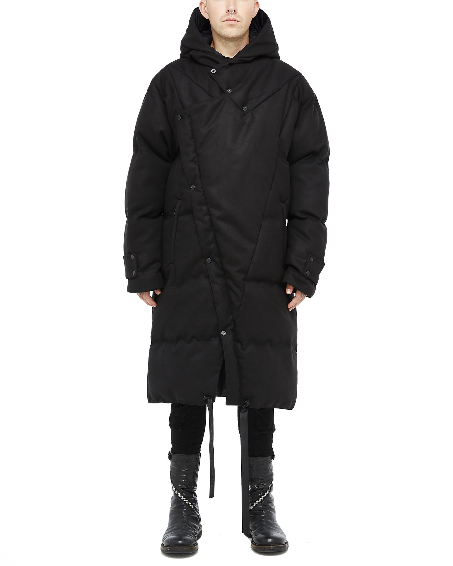 HOODED WRAP FELTED PUFFER COAT