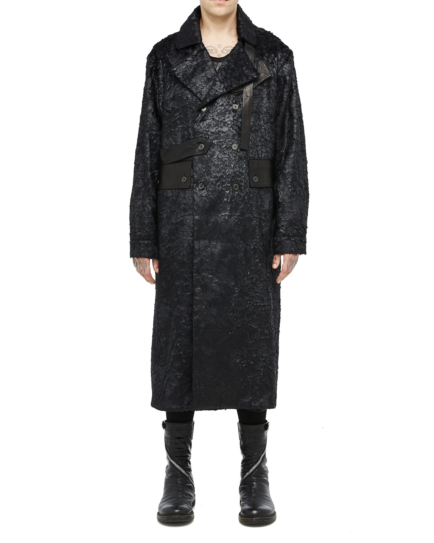 MATTED FAUX FUR TRENCH