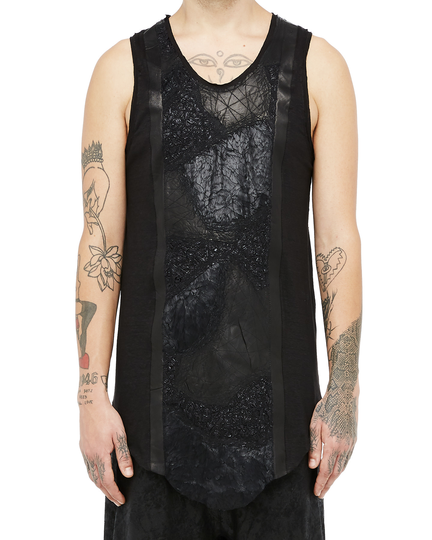 PLASTRON LEATHER AND FAUX FUR TANK TOP