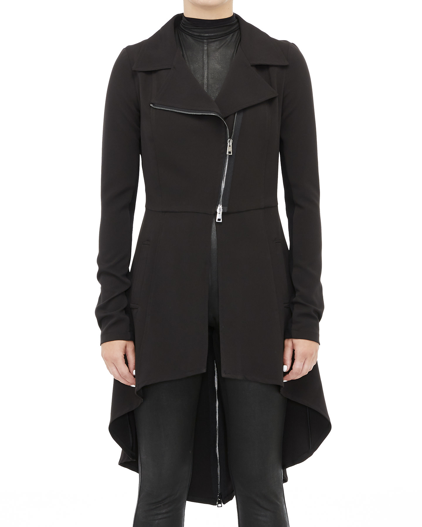 STRETCH ZIP BACK TRENCH COAT