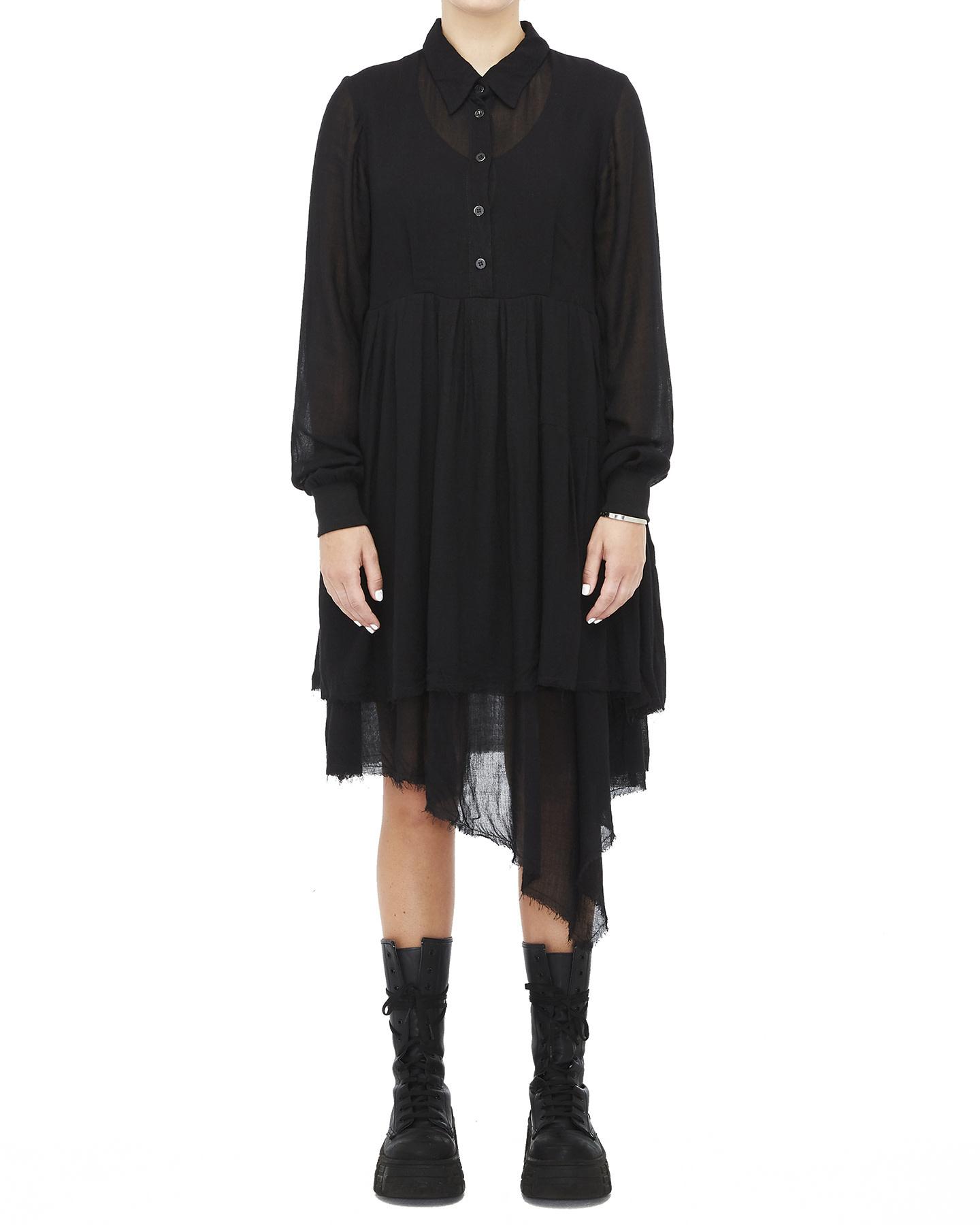VISCOSE & WOOL RELAXED SHIRT DRESS