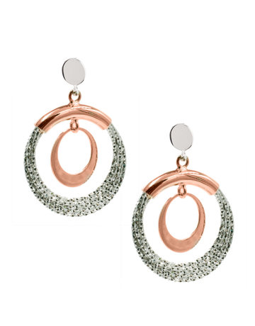 Frederic Duclos Sterling Silver and Rose Gold Plated Denise Earrings