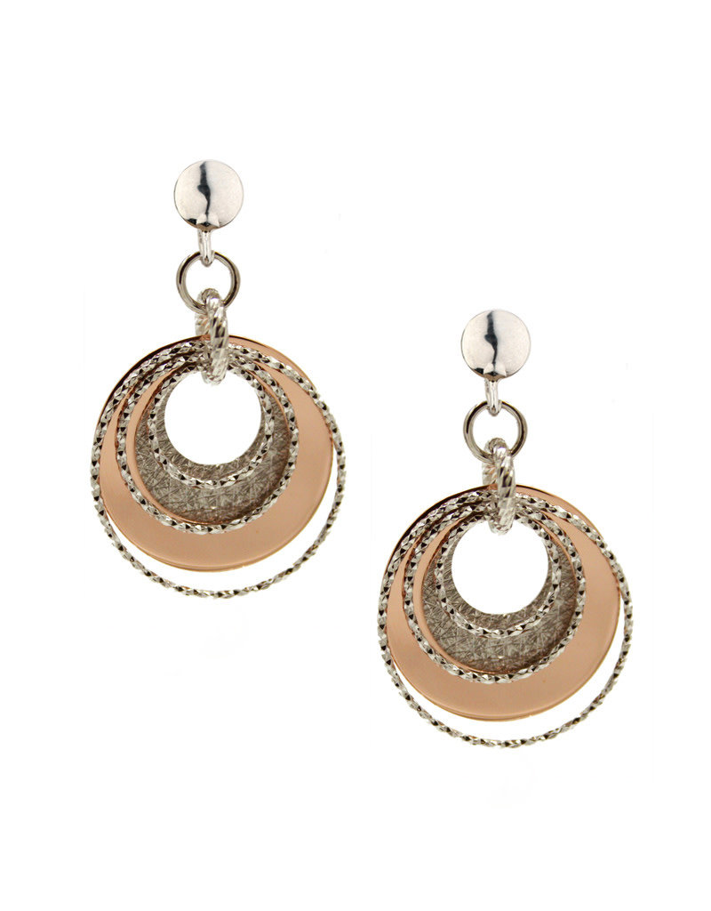 Frederic Duclos SS Rose Gold Plated Luminescent Circle Earrings