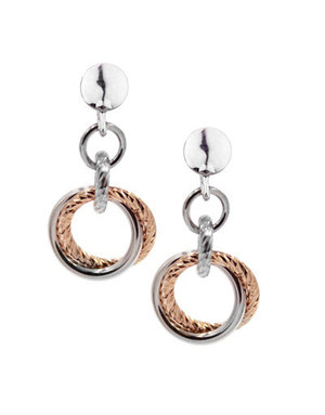 Frederic Duclos Sterling Silver and Rose Gold plated Small Love Knot Earrings