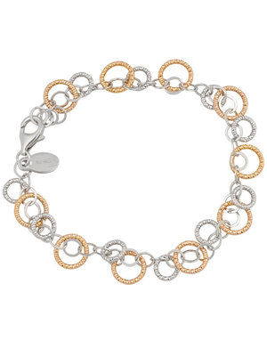 Frederic Duclos Sterling Silver Rose Gold Plated Sparkle Ring Bracelet