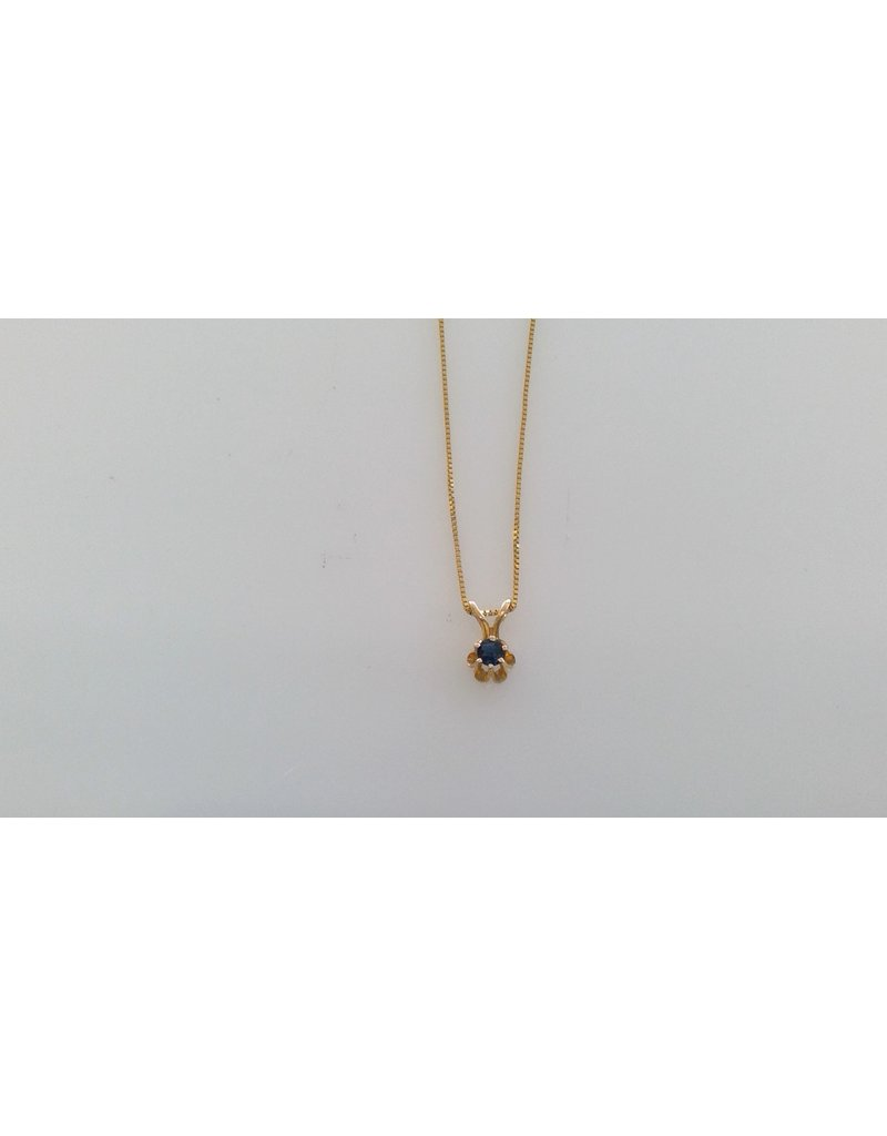 Franklin Jewelers 14kt Yellow Gold Box Chain with Sapphire Pendant